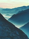 Spectacular Aerial View Of Mountain Silhouettes And Misty Valleys. Misty Awaking Of Beautiful Fairy Valley Royalty Free Stock Photography