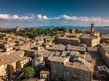 Spectacular aerial view of the old town of Volterra. In Tuscany, Italy stock photography