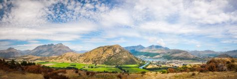 Spectacular alpine Panorama overlooking Queenstown. Spectacular alpine Panorama looking to Queenstown from above at the Remarkable Mountain showing Lake Wakatipu Stock Image