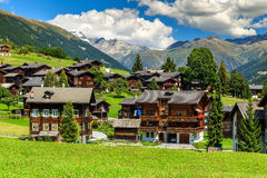 Spectacular alpine village and high mountains,Bernese Oberland,Switzerland,Europe Stock Photography