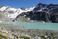 Turquoise-coloured alpine Wedgemount Lake. Spectacular alpine scenery of Wedgemount Lake in Coast Mountains of British Columbia in Canada Stock Photos