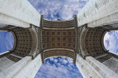 Spectacular angle Arc de Triomphe. In Paris. Photo was taken Fisheye lens Royalty Free Stock Image