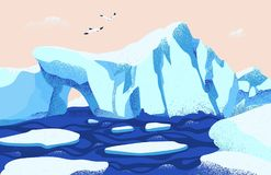 Spectacular Arctic or Antarctic scenery. Beautiful landscape with large icebergs floating in ocean and seagulls. Gorgeous northern nature. Colored vector stock illustration