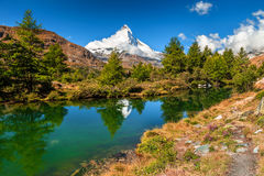 Spectacular autumn alpine landscape with Grindjisee lake,Zermatt,Switzerland,Europe Stock Images