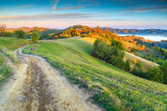 Spectacular autumn colors with misty valley,Holbav,Transylvania,Romania,Europe Royalty Free Stock Images