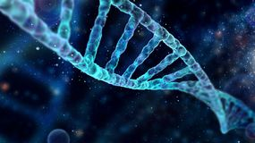 Spectacular background with DNA molecule with depth of field. High detailed DNA spiral in beautiful blue space, high resolution 3D render royalty free stock images
