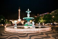 Spectacular baroque fountain on Rossio Square in Lisbon, Portugal royalty free stock photography