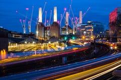 Spectacular Battersea Power Station at night London England Europe. Amazing British architecture of famous Battersea Power Station , Colorful British Railways Royalty Free Stock Images