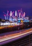 Spectacular Battersea Power Station at night London England Europe. Amazing British architecture of famous Battersea Power Station , Colorful British Railways Stock Photo