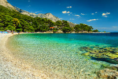 Spectacular bay and beach, Brela, Dalmatia region, Croatia, Europe. Fantastic beautiful summer holiday place with Adriatic Sea, Biokovo mountains and wonderful Royalty Free Stock Photography