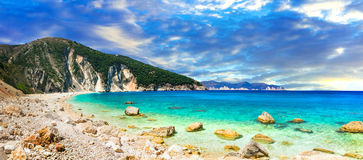 Spectacular beaches of Greece - Myrtos in Kefalonia. Ionian isla Royalty Free Stock Images