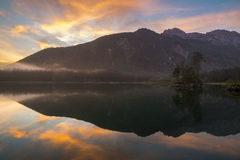 Spectacular, beautiful sunrise over Lake Laghi di Fusine Stock Image