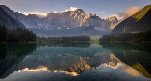 Spectacular, beautiful sunrise over Lake Laghi di Fusine Royalty Free Stock Image