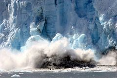 Spectacular calving glacier royalty free stock photos