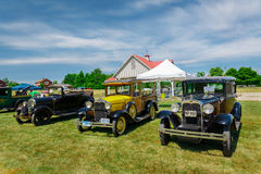 Spectacular car show in the Country Heritage Park, amazing front view of classic vintage cars Stock Photo