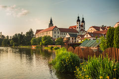 Spectacular castle under cloudy sky in Telc,a town in Moravia, a UNESCO world heritage site in Czech Republic, Europe Stock Photos