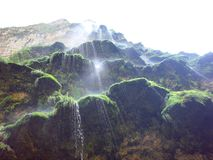 The spectacular Christmas Tree Waterfall in Sumidero Canyon royalty free stock image
