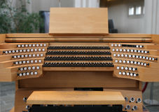 Spectacular Church Organ 03. Manuals for magnificent huge church organ in central Reykjavik, Iceland stock photos
