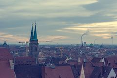 Spectacular cityscape of old German city at sunset. royalty free stock photography