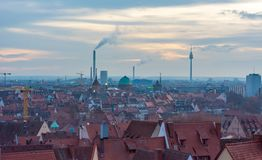 Spectacular cityscape of old German city at sunset. stock image