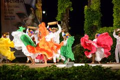 """Spectacular classical dance group from Colombia at Folklore Festival stage,Varna Bulgaria. Dancers from Colombian FOLCLÃ""""RICO DE BARRANQUILLA ESTEFANIA royalty free stock image"""