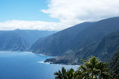 The spectacular cliffs in the north of Madeira plummet into the Atlantic Ocean Stock Photography