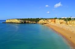 Spectacular cliffs on Senhora Da Rocha Nova Beach Stock Photos