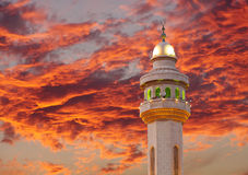 Spectacular cloud & beautiful Al Fateh Mosque Minaret at sunset Stock Image