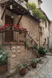 Spectacular colorful traditional italian medieval alley in the historic center of beautiful little town of Spello Perugia Royalty Free Stock Photo
