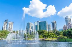 Spectacular dancing water fountains at the Lake Symphony,KLCC. Royalty Free Stock Photo