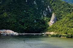 Spectacular Danube Gorges. Decebal`s Head sculpted in rock. Royalty Free Stock Photos