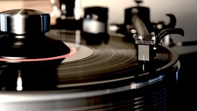 Spectacular detailed close up loop view on vintage retro vinyl album black old record player gramophone on turntable. Fascinating detailed close up loop view on stock footage