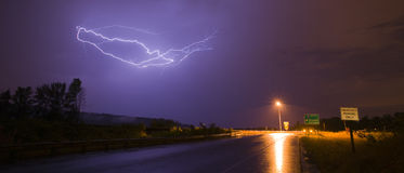 Spectacular Display Lightning Strike Eectrical Charge Thunder St Stock Photos