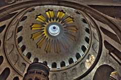 Church of the Holy Sepulchre Rotunda. The spectacular Dome of the Rotunda just above the Edicule at the Chruch of the Holy Sepulchre in the old city of Jerusalem Stock Image
