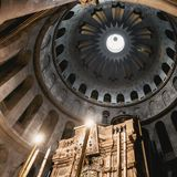 Church of the Holy Sepulchre in old city Jerusalem, Israel. The spectacular Dome of the Rotunda just above the Edicule at the Church of the Holy Sepulchre in Royalty Free Stock Photos