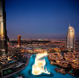 The spectacular Dubai Dancing Fountain at dusk Royalty Free Stock Photo