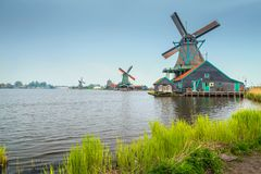 Spectacular dutch touristic village Zaanse Schans, near Amsterdam, Netherlands, Europe Royalty Free Stock Images
