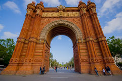 Spectacular famous arch triumph in Barcelona. BARCELONA, SPAIN - 8 AUGUST, 2015: Spectacular famous arch triumph in Barcelona on a beautiful sunny day Royalty Free Stock Photography