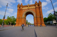 Spectacular famous arch triumph in Barcelona on a Royalty Free Stock Images