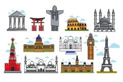 Spectacular famous architectural art creations isolated illustrations set Royalty Free Stock Images
