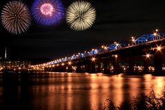 Spectacular fireworks at han River Stock Photos