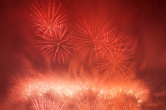 Spectacular fireworks show light up the sky. New year celebration. Royalty Free Stock Photo
