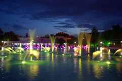 Spectacular fountains at night Stock Photo