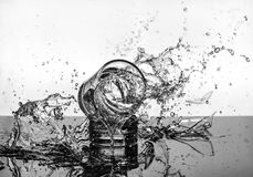 Spectacular High Speed shot of whiskey Glasees breaking BW stock photography
