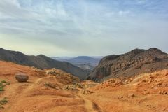 Spectacular hiking pathway view of the Sirwa mountain in southern Morocco, Taroudant. stock image