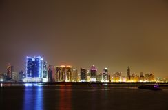 Spectacular illuminated HDR photograph of Juffair skyline, Bahrain Royalty Free Stock Photos