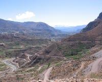 Spectacular Inca Terracing, Peru. Impressive old Inca terracing cut into the landscape near Chivay in southern Peru Royalty Free Stock Photo