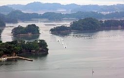 Spectacular islands of Oku-Matsushima seen from a hill. Royalty Free Stock Image