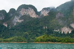 Spectacular karst formations inside Khao Sok National Park. On the shores of Cheow Lan Lake. The limestone mountains are covered in jungle vegetation Stock Images