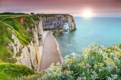 Spectacular la Manneporte natural rock arch wonder,Etretat,Normandy,France Stock Images